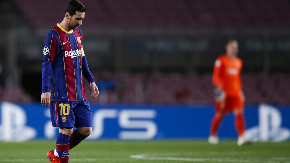 Lionel Messi, pictured here during Barcelona's clash with Dynamo Kiev.