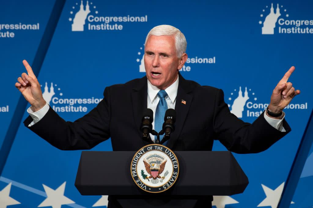 Vice President Mike Pence speaks at the 2019 House Republican Conference Member Retreat Dinner in Baltimore on Friday Sept. 13, 2019. | Caroline Brehman—CQ-Roll Call, Inc/Getty Imag