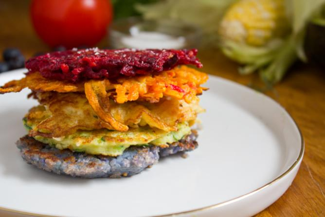 "<p>Amy Kritzer of <a href=""http://whatjewwannaeat.com/"">What Jew Wanna Eat</a> dreamed up these ruby-hued latkes stuffed with beets, onion, and garlic. A dash of cumin lends an exotic note. <a href=""https://www.yahoo.com/food/beet-and-red-onion-latkes-from-what-jew-wanna-105637079626.html"">Get the recipe here.</a><i><a href=""https://www.yahoo.com/food/beet-and-red-onion-latkes-from-what-jew-wanna-105637079626.html""> </a>(Photo: Amy Kritzer)</i><br /></p>"