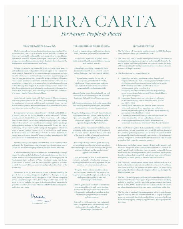 Terra Carta, the Magna Carta-style charter launched by the Prince of Wales