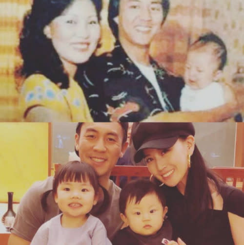 Ti Lung and wife with baby Shaun (above), Shaun and his own family (below)