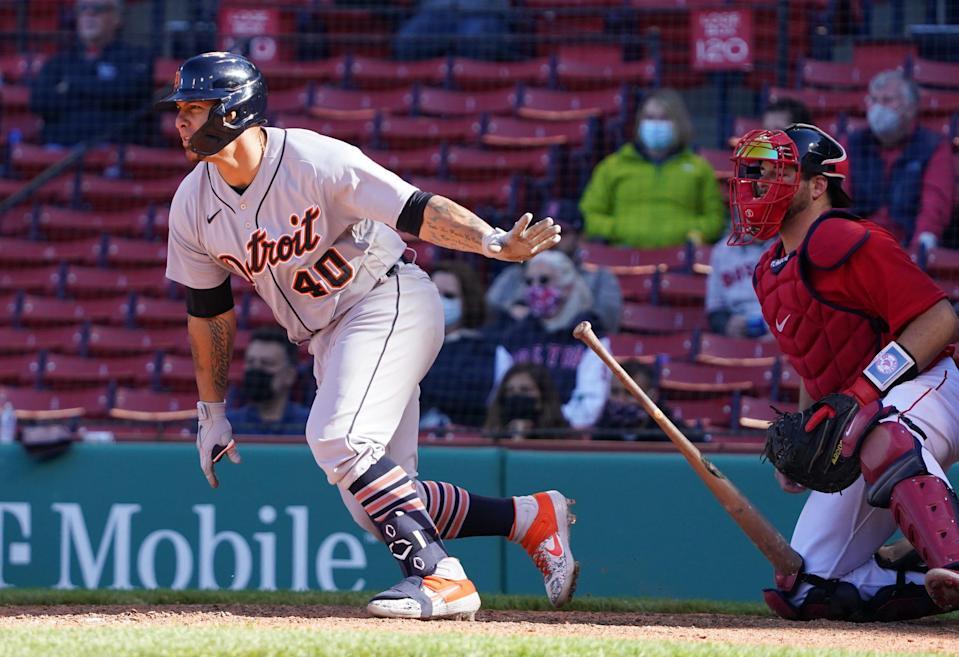 Detroit Tigers catcher Wilson Ramos gets a base hit to drive in the go-ahead run against the Boston Red Sox in the eighth inning at Fenway Park, May 6, 2021.