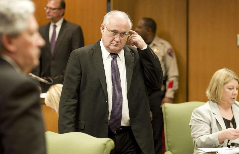 Former Williamson County prosecutor Ken Anderson enters the courtroom for his court of inquiry at the Williamson County Courthouse in Georgetown, Texas on Thursday Feb. 7, 2013. Michael Morton, who served nearly 25 years in prison for killing his wife Christine, alleges Anderson withheld evidence indicating his innocence. Anderson is facing a court of inquiry on the matter. Morton was freed on DNA evidence in 2011. (AP Photo/Statesman.com. Jay Janner, Pool)