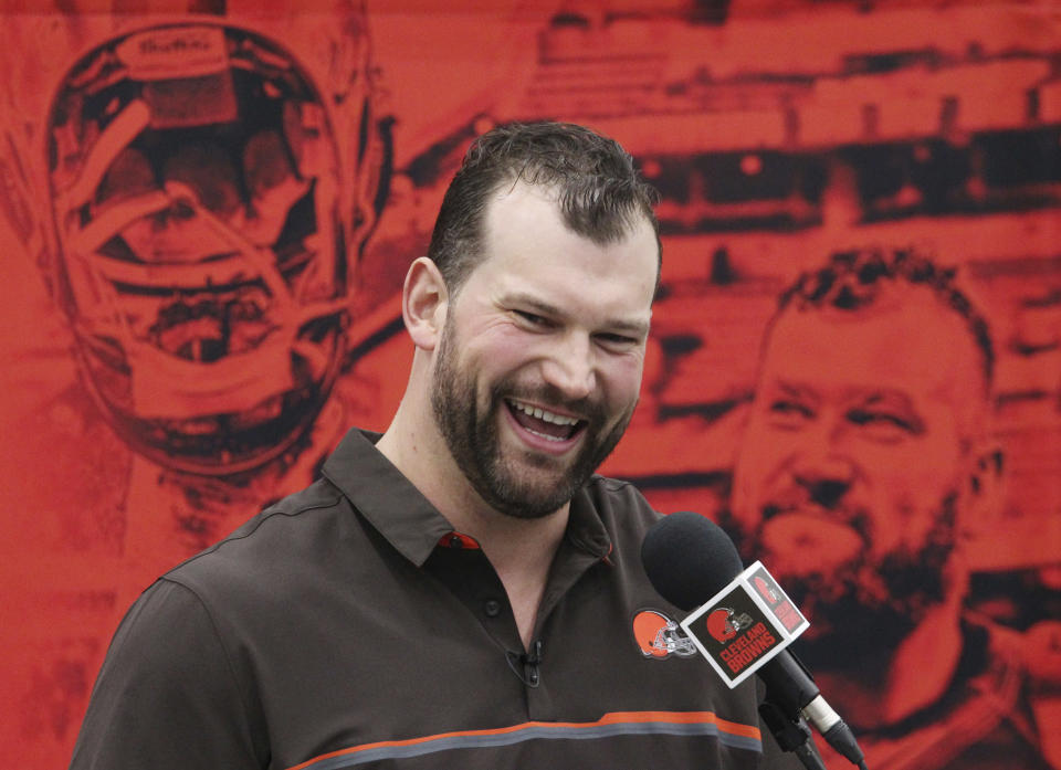 Joe Thomas stopped having to eat like an offensive lineman, and he doesn't look like an offensive lineman anymore. (AP)
