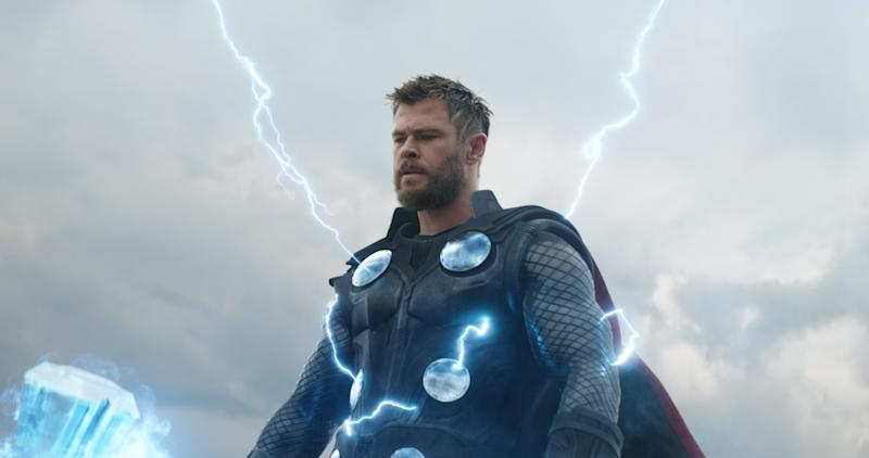 Thor looking determined, with lightning emanating from his Stormbreaker axe.