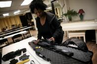 Andreyah Garland, a 44-year-old single mother of three daughters during a gun training session in Newburgh