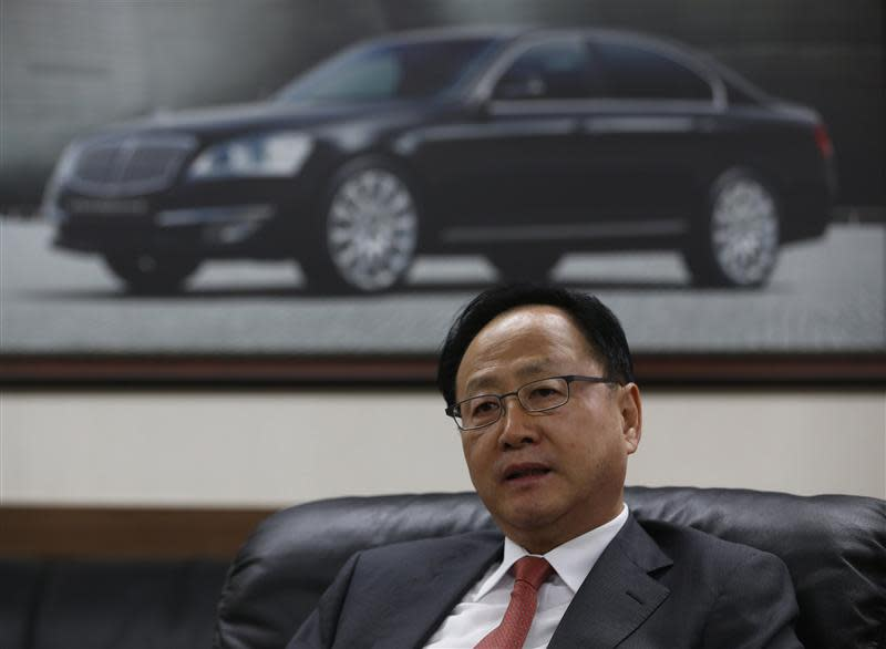 Lee Yoo-il, President and CEO of Ssangyong Motor Co, speaks during an interview with Reuters at his office in Seoul