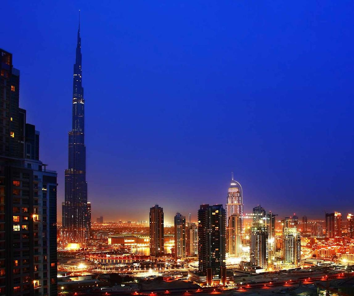 Burj Khalifa in Dubai is by far the tallest skyscraper in the world. Standing at 828 metres, it is almost 200 metres taller than the world's second tallest building, the Taipei 101 in Taiwan. Burj Khalifa also holds the record for the most storeys, as well as the fastest lift in the world.