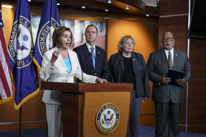 Speaker of the House Nancy Pelosi, D-Calif., announces her appointments to a new select committee to investigate the violent Jan. 6 insurrection at the Capitol, including from left, Rep. Adam Schiff, D-Calif., Rep. Zoe Lofgren, D-Calif., and Rep. Bennie Thompson D-Miss., who will lead the panel, on Capitol Hill in Washington, Thursday, July 1, 2021. The probe will examine what went wrong around the Capitol when hundreds of supporters of then-President Donald Trump broke into the building, hunted for lawmakers and interrupted the congressional certification of Democrat Joe Biden's election victory. (AP Photo/J. Scott Applewhite)