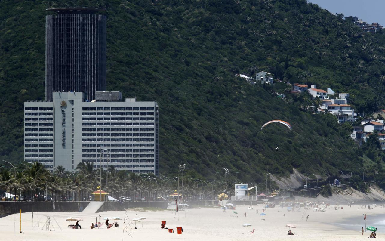 A view of the Royal Tulip hotel (front), where the England soccer team will be staying at during the 2014 World Cup, in front of Sao Conrado beach in Rio de Janeiro February 11, 2014. REUTERS/Sergio Moraes (BRAZIL - Tags: SPORT SOCCER WORLD CUP)