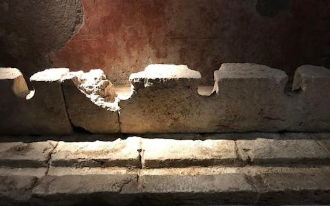 Romans used sponges on wooden sticks to clean themselves after using the 50-seat latrine - Credit: Nick Squires/Telegraph