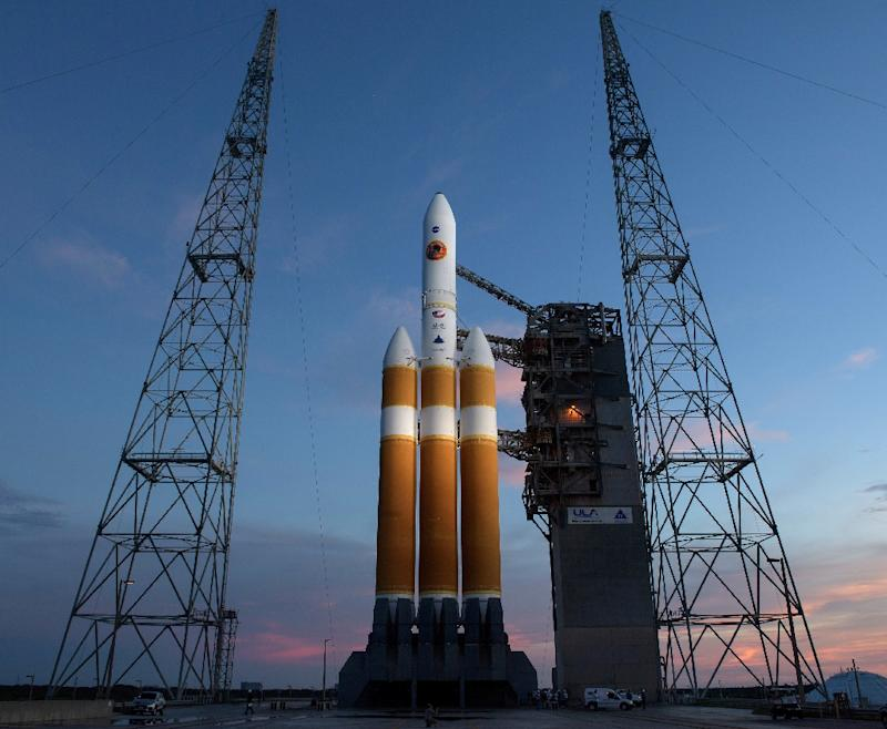 This handout photo released by NASA shows the United Launch Alliance Delta IV Heavy rocket with the Parker Solar Probe onboard shortly after the Mobile Service Tower was rolled back on August 10, 2018