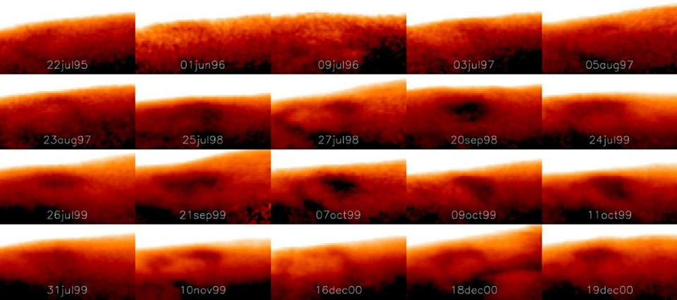 Researchers tracked the Great Cold Spot over time, noting dramatic changes in shape and size from day to day. Here, it is seen in July of 1995 and continues to reappear until 15 years later, in December of 2000. <cite>Tom Stallard</cite>