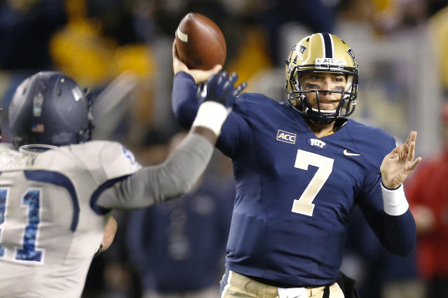 Pittsburgh quarterback Tom Savage (7) gets off a pass as Old Dominion linebacker Richie Staton (41) pressures in the third quarter of the NCAA football game on Saturday, Oct. 19, 2013, in Pittsburgh. Pittsburgh won 35-24. (AP Photo/Keith Srakocic)