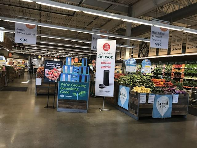 The week Amazon's acquisition of Whole Foods Market closed, Whole Foods started selling Amazon Echo speakers in-store.
