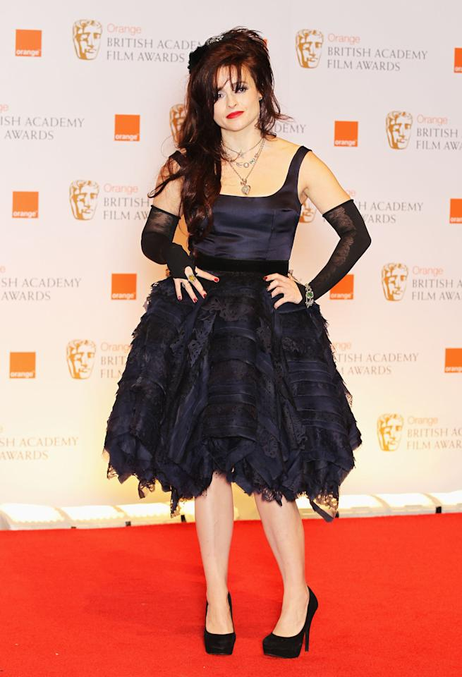 LONDON, ENGLAND - FEBRUARY 12: Actress Helena Bonham Carter poses in the press room during the Orange British Academy Film Awards 2012 at the Royal Opera House on February 12, 2012 in London, England.  (Photo by Chris Jackson/Getty Images)