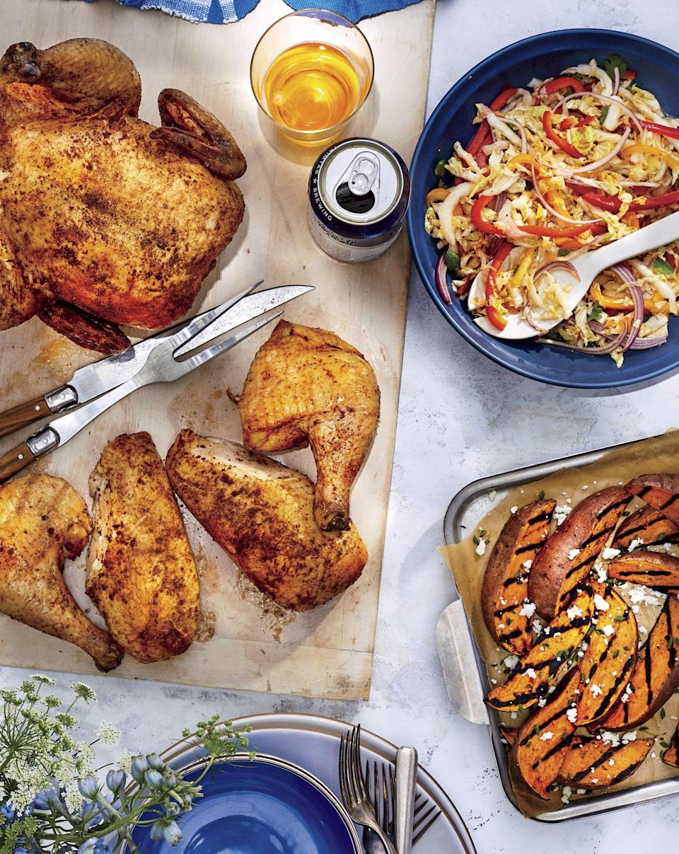 """<p><strong>Recipe:</strong> <a href=""""https://www.southernliving.com/recipes/spicy-pepper-jelly-coleslaw"""" rel=""""nofollow noopener"""" target=""""_blank"""" data-ylk=""""slk:Spicy Pepper Jelly Coleslaw"""" class=""""link rapid-noclick-resp"""">Spicy Pepper Jelly Coleslaw</a></p> <p>Coleslaw is a must-have side dish at any cookout. We've added just a bit of heat to this recipe.</p>"""