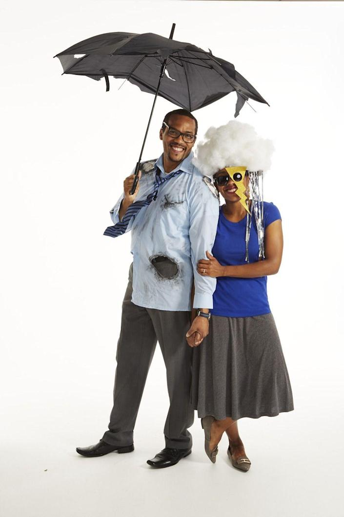 """<p>Sparks will fly when this storm cloud runs into a wired tie, tattered dress shirt, and umbrella. </p><p><strong>Storm Cloud</strong>: With a hot-glue gun, attach polyester stuffing to a white baseball cap to form a cloud. (Layer and glue stuffing in small sections to ensure it is attached securely.) Hot-glue silver streamers under hat brim. Wear hat sideways. Trace sunglasses and earrings lightning bolt <a href=""""https://www.womansday.com/home/crafts-projects/how-to/g2607/halloween-2016-templates/"""" rel=""""nofollow noopener"""" target=""""_blank"""" data-ylk=""""slk:templates"""" class=""""link rapid-noclick-resp"""">templates</a> onto gold glitter craft paper and cut out with scissors. Glue larger lightning bolt to a pair of sunglasses (angle away from face so there's space for nose). Poke a hole at top center of each smaller lightning bolt with a safety pin and insert earring hooks (available at craft stores). Cut an oval from white felt, hot-glue stuffing on top, then secure to shirt with hot glue. </p><p><strong>Struck By Lightning</strong>: To make jagged holes in an old dress shirt, pinch and twist small sections of the fabric and cut with scissors. Color around edges with charcoal drawing sticks (available at craft stores); spray with hairspray to prevent smudging. Tie a Windsor knot in a necktie (so it is adjustable). Run 2 pieces of 12-gauge wire through back of tie; tape in place with black duct tape, then adjust and bend as desired. Open an old umbrella and cut holes and slashes with scissors.</p><p><a class=""""link rapid-noclick-resp"""" href=""""https://www.amazon.com/Windproof-Umbrella-Reinforced-Operation-Slip-Proof/dp/B07QHXWKSL?tag=syn-yahoo-20&ascsubtag=%5Bartid%7C10070.g.1923%5Bsrc%7Cyahoo-us"""" rel=""""nofollow noopener"""" target=""""_blank"""" data-ylk=""""slk:SHOP BLACK UMBRELLA"""">SHOP BLACK UMBRELLA</a></p>"""