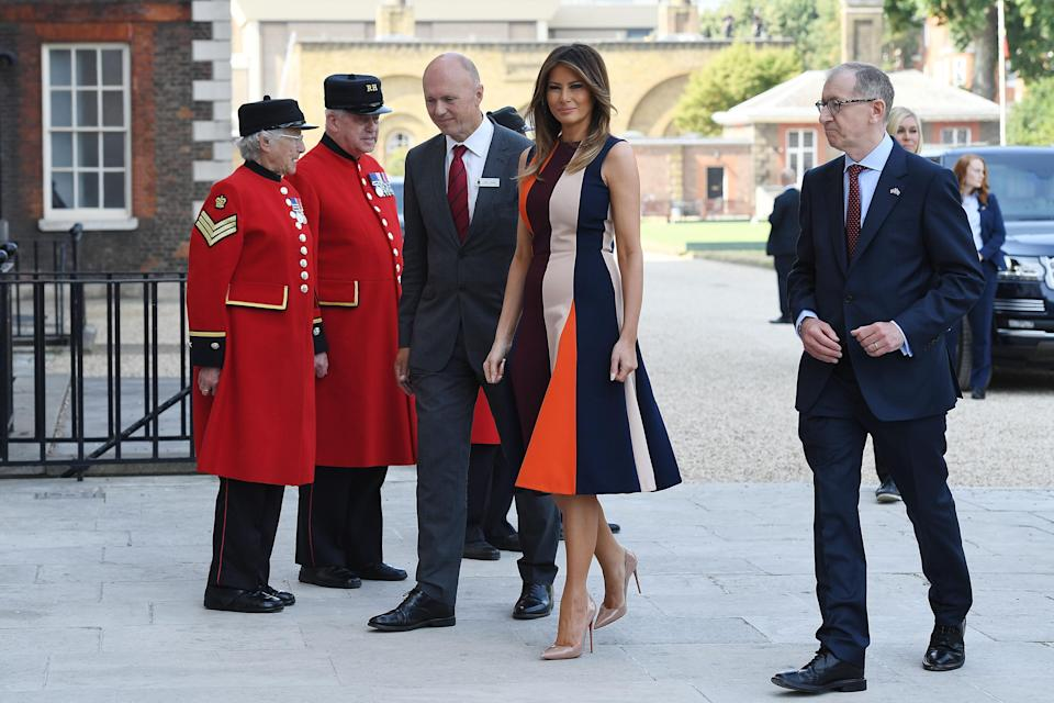 Melania Trump joined Philip May, husband of British Prime Minister Theresa May, for a visit to the Chelsea Pensioners. (Photo: Leon Neal/Getty Images)