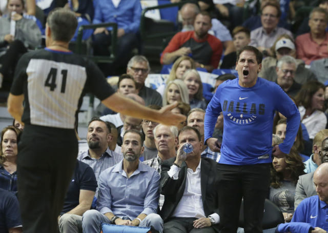 "Dallas Mavericks owner Mark Cuban said he has no interest in buying the Carolina Panthers, calling the NFL a ""league in decline."" (AP)"