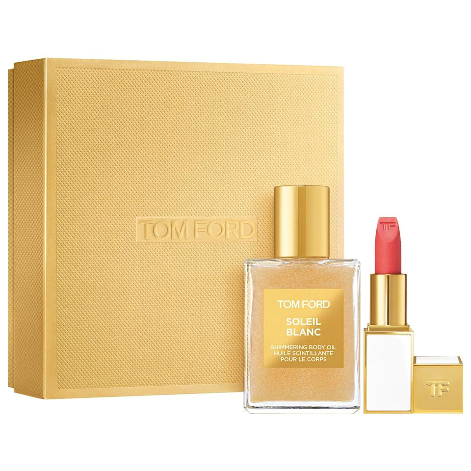 "<p><strong>TOM FORD</strong></p><p>sephora.com</p><p><strong>$80.00</strong></p><p><a href=""https://go.redirectingat.com?id=74968X1596630&url=https%3A%2F%2Fwww.sephora.com%2Fproduct%2Ftom-ford-soleil-blanc-shimmering-body-oil-lip-color-sheer-set-P464301&sref=https%3A%2F%2Fwww.redbookmag.com%2Fbeauty%2Fg34587516%2Fsephora-beauty-gifts%2F"" rel=""nofollow noopener"" target=""_blank"" data-ylk=""slk:Shop Now"" class=""link rapid-noclick-resp"">Shop Now</a></p><p>If you're feeling generous, Tom Ford Beauty is a very nice gift to give someone special in your life. This set includes a mini version of the brand's best selling Soleil Blanc Shimmering Body Oil (which smells amazing) and a Lip Color Sheer. </p>"