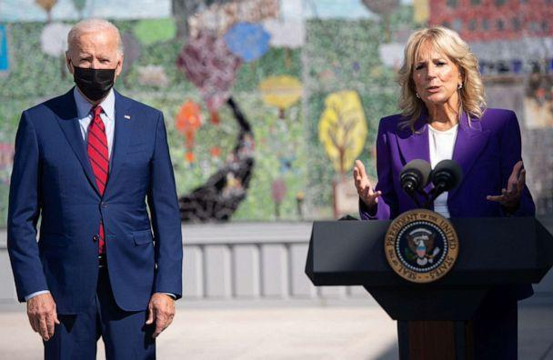 PHOTO: First Lady Jill Biden speaks alongside President Joe Biden about coronavirus protections in schools during a visit to Brookland Middle School in Washington, D.C., Sept. 10, 2021. (Saul Loeb/AFP via Getty Images)
