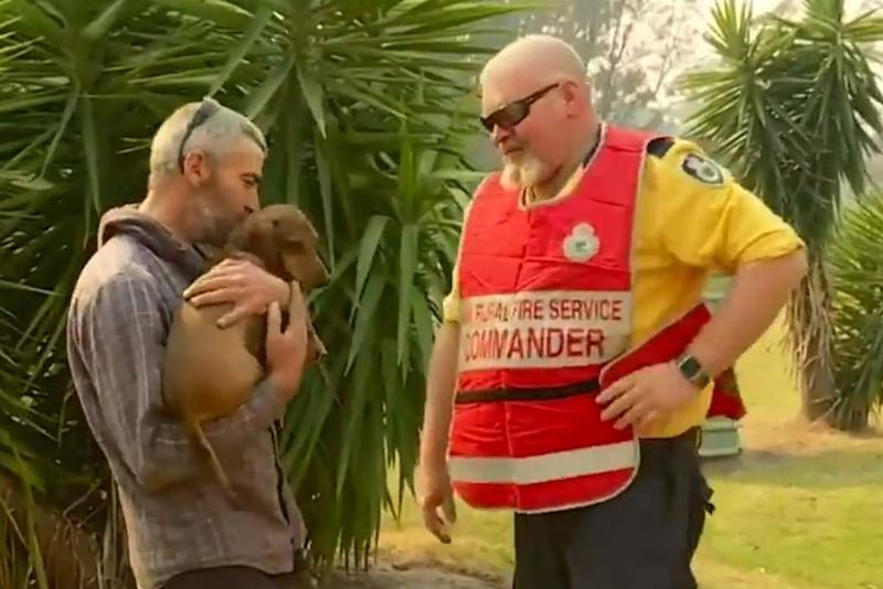 Wilbur is now safely back in the arms of owner Paul (9 News)
