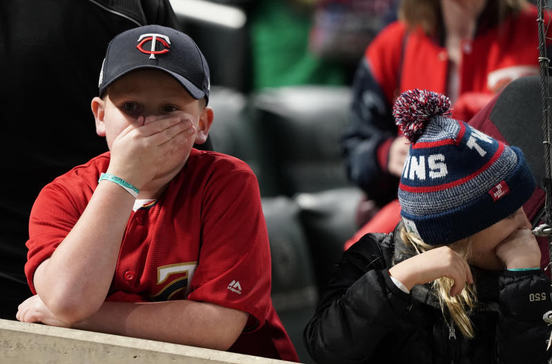 MINNEAPOLIS, MN - OCTOBER 7: Anthony Hartmann, 10 of St. Peter, watched the end of the game as the Minnesota Twins lost to the New York Yankees during game 3 of their American League Division Series at Target Field on Monday, October 7, 2019. (Photo by Leila Navidi/Star Tribune via Getty Images)