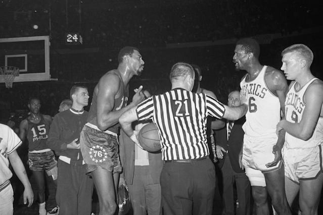 Wilt Chamberlain and Bill Russell met in four Game 7s. Russell won all of them. (Getty Images)