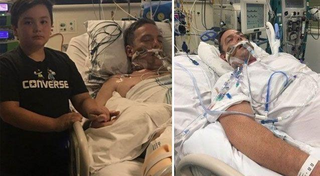 Russell Marsh has been left in a coma after being coughed on by a sick patient. Photo: GoFundMe