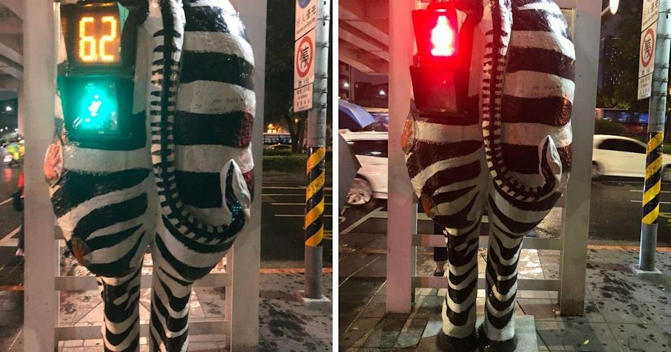 <p>The funny public art is located at the intersection of Civic Blvd. and Dunhua North Rd. (Photos courtesy of Nicola Smith/Twitter)</p>