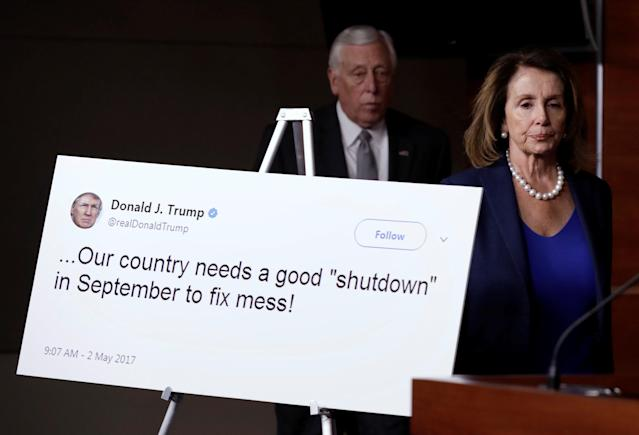 <p>House Minority Leader Nancy Pelosi and Rep. Steny Hoyer arrive at a news conference with Democratic leaders on opposition to government shutdown on Capitol Hill in Washington, Jan. 19, 2018. (Photo: Yuri Gripas/Reuters) </p>