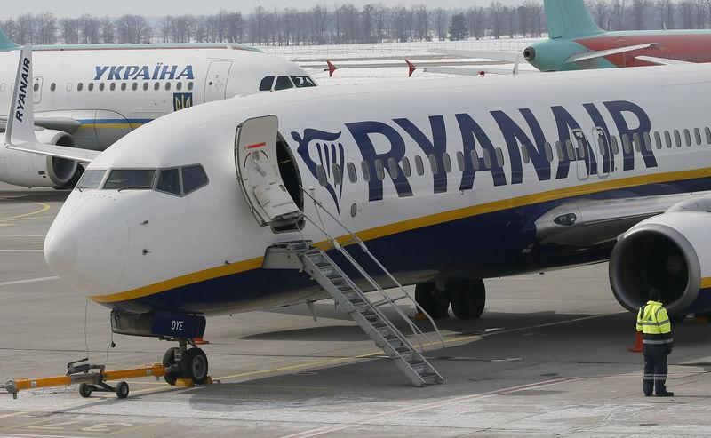 FILE PHOTO: A Ryanair Boeing 737 aircraft is parked at Boryspil International Airport outside Kiev