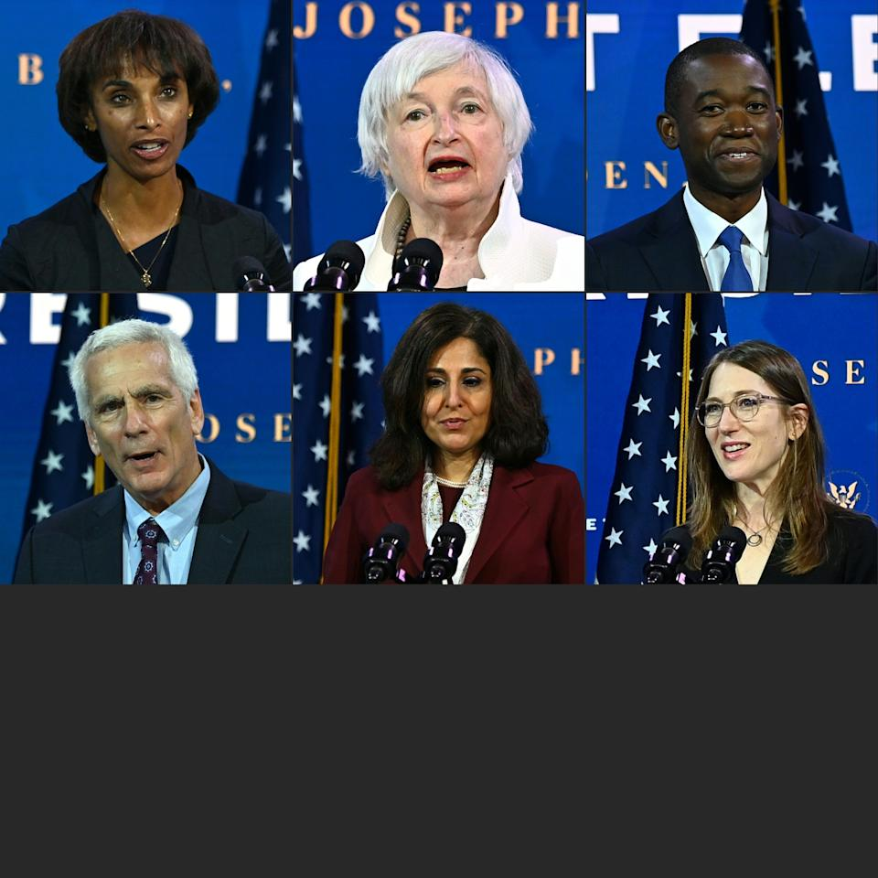 """President-elect Joe Biden's economic team at The Queen Theatre in Wilmington, Delaware, on Dec. 1. Top, left to right: Chair of Council of Economic Advisers nominee Cecilia Rouse, Treasury Secretary nominee Janet Yellen, and Deputy Secretary of the Treasury nominee Adewale """"Wally"""" Adeyemo. Bottom, left to right: Council of Economic Advisers nominee Jared Bernstein, Office of Management and Budget nominee Neera Tanden, Council of Economic Advisers nominee Heather Boushey. (Photo: CHANDAN KHANNA via Getty Images)"""