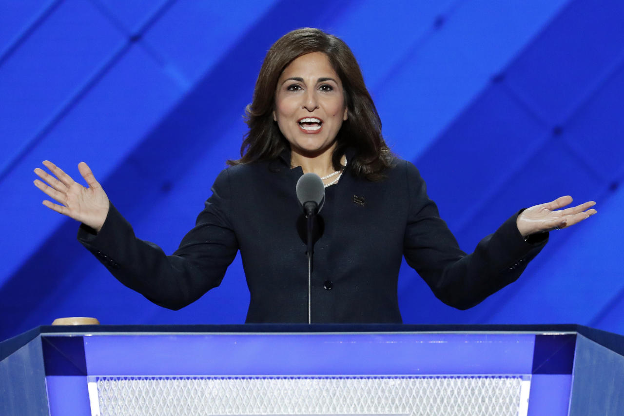 """FILE - In this July 27, 2016, file photo, Neera Tanden, president of the Center for American Progress, speaks at the Democratic National Convention in Philadelphia. A major liberal policy group is raising the ante on the health care debate with a new plan that builds on Medicare to guarantee coverage for all. Called """"Medicare Extra for All,"""" the proposal to be released Feb. 22, 2018, by the Center for American Progress gives politically energized Democrats more options to achieve a long-sought goal. (AP Photo/J. Scott Applewhite, File)"""