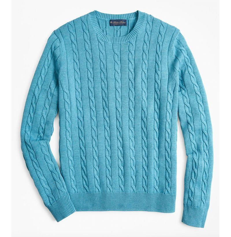 """<p><strong>Brooks Brothers</strong></p><p>brooksbrothers.com</p><p><strong>$108.00</strong></p><p><a href=""""https://go.redirectingat.com?id=74968X1596630&url=https%3A%2F%2Fwww.brooksbrothers.com%2FSupima%25C2%25AE-Cotton-Cable-Crewneck-Sweater%2FMS00866_____IVOR_XXL______%2Cdefault%2Cpd.html&sref=https%3A%2F%2Fwww.esquire.com%2Fstyle%2Fmens-fashion%2Fg14012516%2Fcable-knit-sweaters-men%2F"""" rel=""""nofollow noopener"""" target=""""_blank"""" data-ylk=""""slk:Buy"""" class=""""link rapid-noclick-resp"""">Buy</a></p>"""