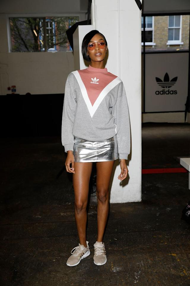 "<p>Jourdan Dunn keeps things simple and sleek by pairing a high neck sweatshirt with a futuristic metallic mini. Keep that athleisure energy by adding your favorite sneakers and tinted sunglasses.</p><p><strong>What you'll need: </strong><em>Cropped Hoodie, $65, Adidas Originals</em></p><p><a class=""body-btn-link"" href=""https://go.redirectingat.com?id=74968X1596630&url=https%3A%2F%2Fshop.nordstrom.com%2Fs%2Fadidas-originals-crop-hoodie%2F4806249%3Forigin%3Dkeywordsearch-personalizedsort%26breadcrumb%3DHome%252FAll%2BResults%26color%3Ddust%2Bpink&sref=http%3A%2F%2Fwww.seventeen.com%2Fcelebrity%2Fg28038515%2Fathleisure-outfit-ideas%2F"" target=""_blank"">SHOP NOW</a></p>"