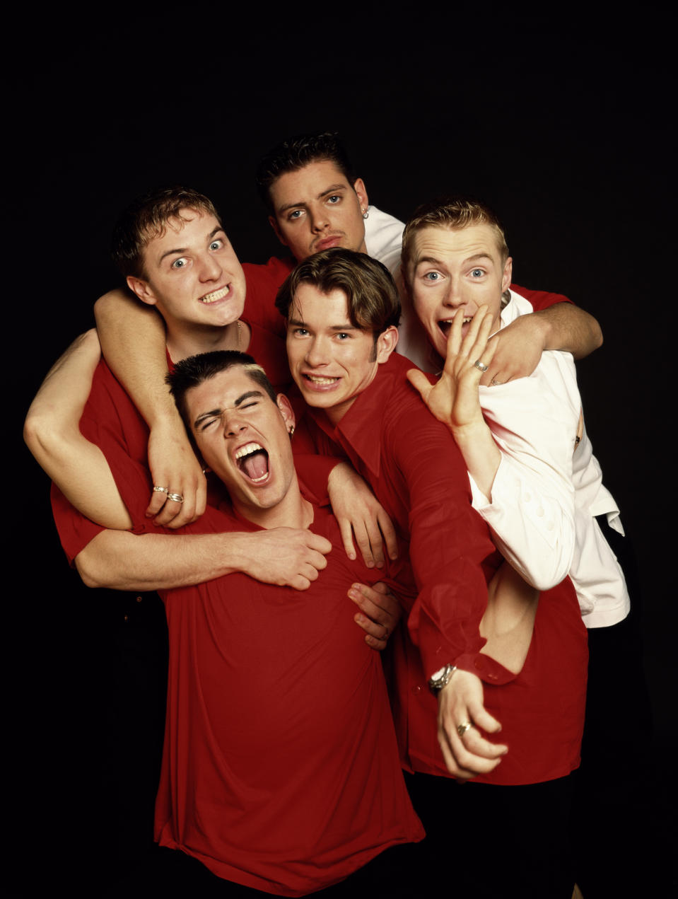 Irish boy band Boyzone, circa 1995. Clockwise from top left: Mikey Graham, Keith Duffy, Ronan Keating Stephen Gately (1976 - 2009) and Shane Lynch. (Photo by Tim Roney/Getty Images)