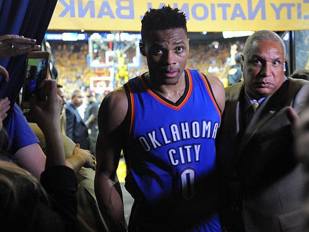 Russell Westbrook lines it up. (Getty Images)