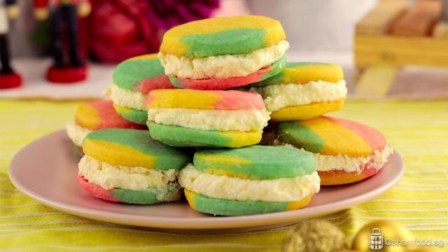 Rainbow Sandwich Cookies served on a plate