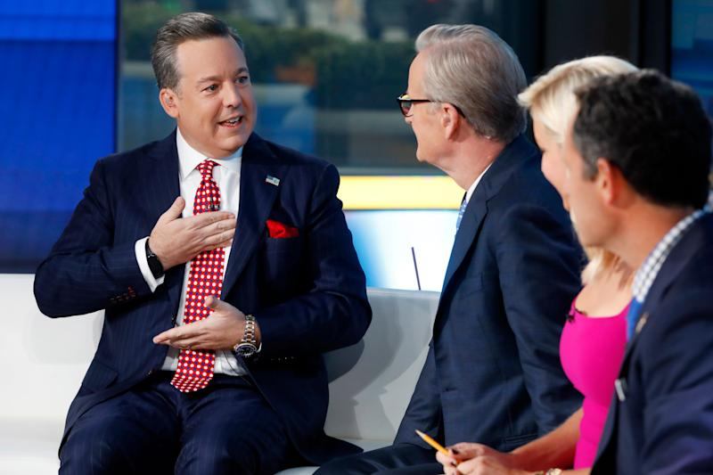 "Fox News chief national correspondent Ed Henry, left, describes his surgery to co-hosts Steve Doocy, Ainsley Earhardt and Brian Kilmeade on ""Fox & Friends"" in New York on Sept. 6, 2019."