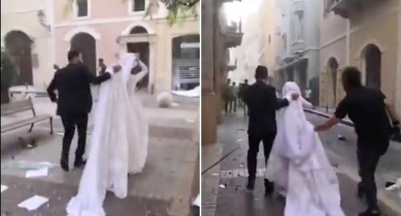 Israa Seblani in her wedding dress as she hurries away in the aftermath of the Beirut blast.