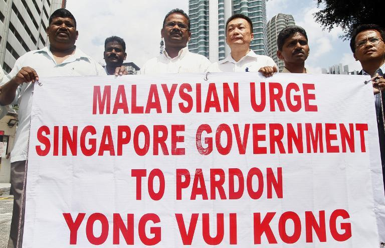 In this file photo, Malaysian protesters are seen gathering outside Singapore High Commission in Kuala Lumpur, on August 26, 2010, as they urge the neighbouring country's government to pardon Yong Vui Kong