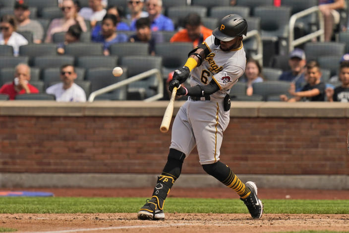Pittsburgh Pirates' Rodolfo Castro hits a two-run homer during the sixth inning of a baseball game against the New York Mets at Citi Field, Sunday, July 11, 2021, in New York. (AP Photo/Seth Wenig)