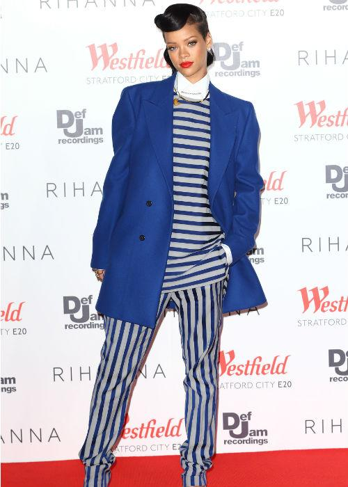 <b>Rihanna:</b> Wild child Rihanna chose to embrace the jailor/sailor suit by wearing both horizontal and vertical stripes in one bizarre go coupled with an oversized blazer. Is she trying to tell us something here?