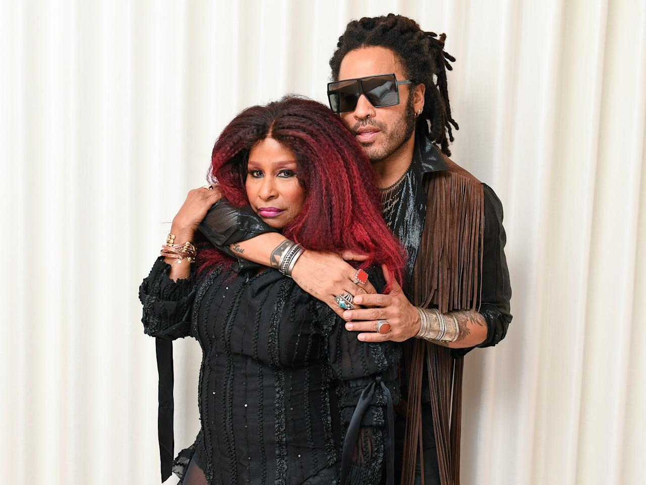 Chakha Khan and Lenny Kravitz celebrate the opening of the The West Hollywood EDITION on November 12 in Los Angeles.