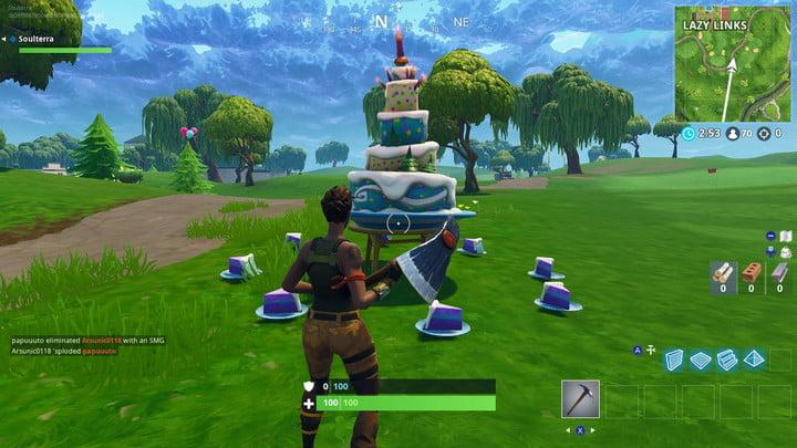 fortnite birthday cake locations - when does the fortnite anniversary end
