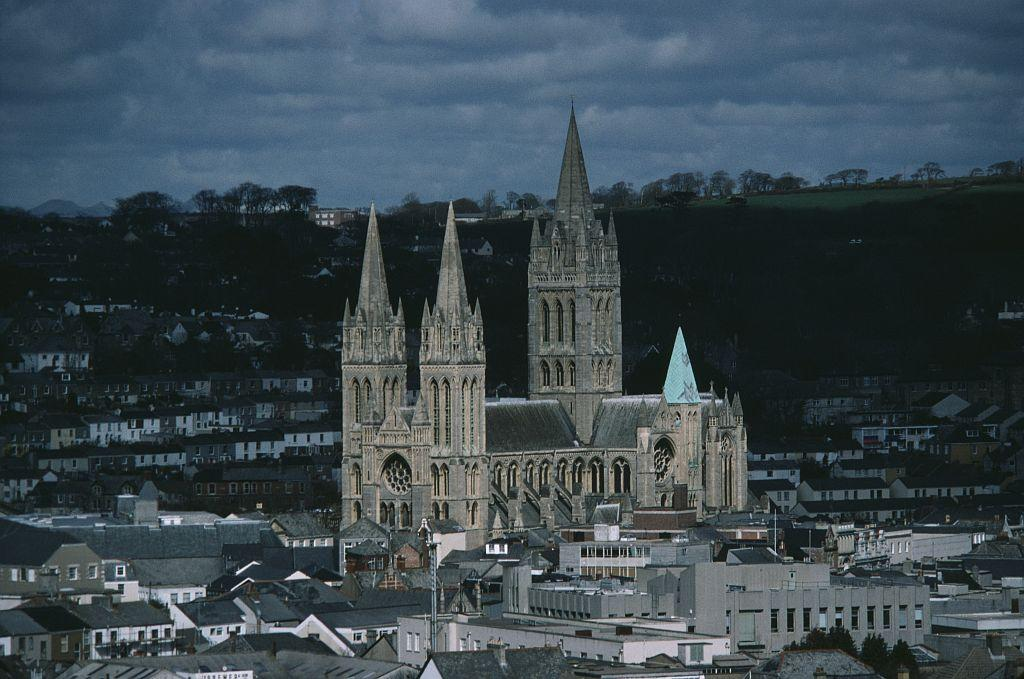 A general view of The Cathedral of the Blessed Virgin Mary or Truro cathedral, Truro, Cornwall, United Kingdom.