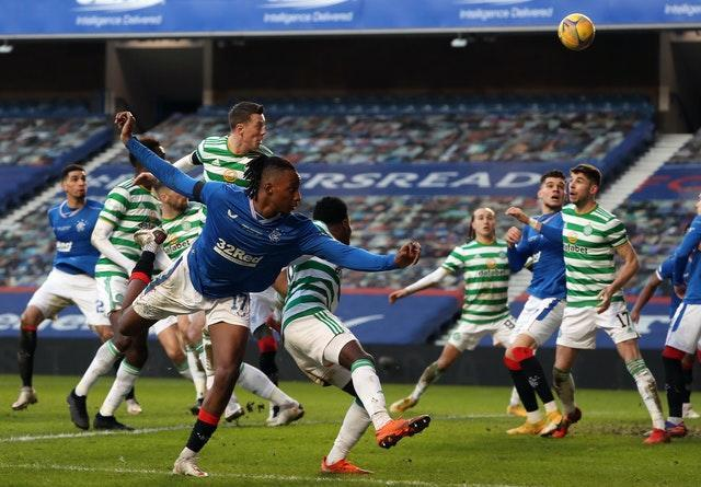 Celtic's Callum McGregor, centre top, scores the decisive own goal in Rangers' 1-0 win at Ibrox