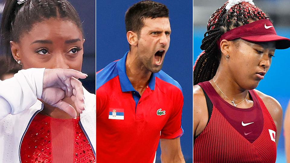 In this picture, Simone Biles, Novak Djokovic and Naomi Osaka are seen during the Olympics.